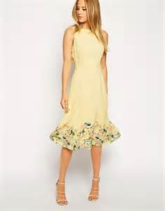 wedding guest bags asos midi dress in botanical border print in yellow lyst
