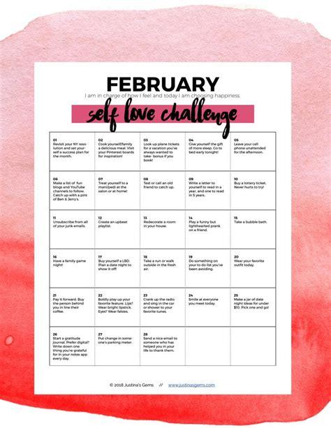 february  love challenge  printable justinas