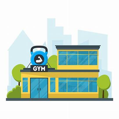Gym Cartoon Building Vector Fitness Clipart Exercise