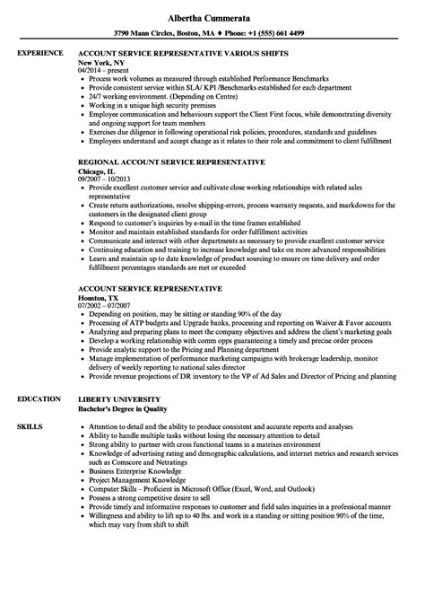 account service representative resume samples velvet jobs