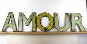 Vintage metal shop sign letters 39amour39 eyespy for Store sign letters