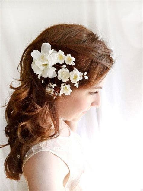 white flower hair clip wedding hair accessories earth