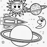 Coloring Solar Space System Planets Galaxy Easy Children Outer Planet Drawing Printable Ship Craft Moon Sun Nasa Worksheet Star Playgroup sketch template