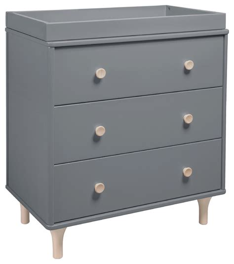grey dresser changing table lolly 3 drawer changer dresser gray and washed natural modern changing tables by the mdb