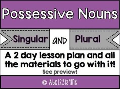 possessive nouns lesson plans and focus on on