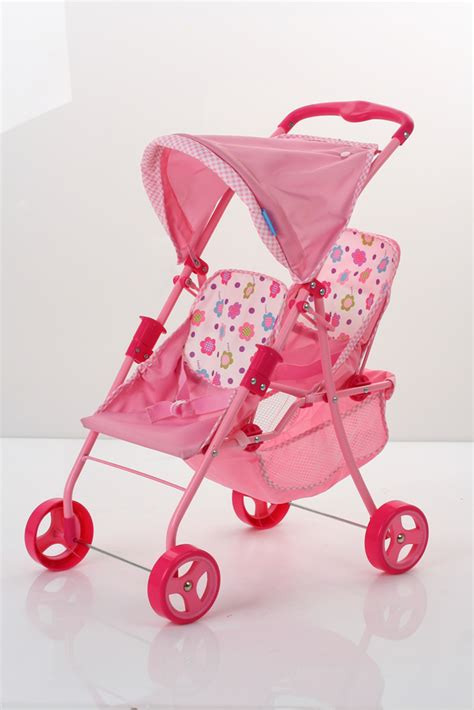Spring Tandem Twin Doll Stroller - Pink