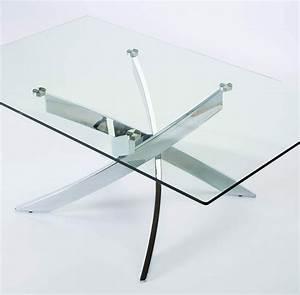 Table Basse Verre Design : table basse en verre et chrome design jaina ~ Teatrodelosmanantiales.com Idées de Décoration