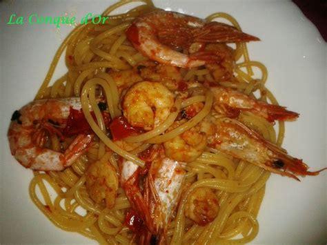 recette pates aux gambas spaghetti aux gambas recettes de enzo la conque d or