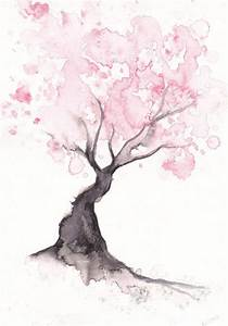 art tree painting pink nature cherry blossom water color ...