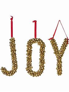 decorative letters metal jingle bell letters joy ornament With lettering on ornaments