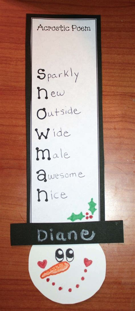 wintry crafts  activities january writing acrostic