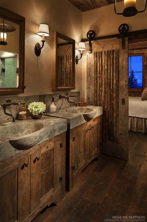 Rustic Sinks Bathroom by Rustic Bathroom D 233 Cor With Concrete Sinks And Barn Door