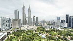 View of the Petronas Twin Towers and KLCC Park, Kuala ...