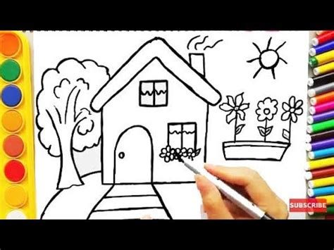 drawing house  learning colors  coloring pages  dog