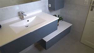 meuble salle de bain en decale moderne et design With salle de bain design avec meuble sdb 120