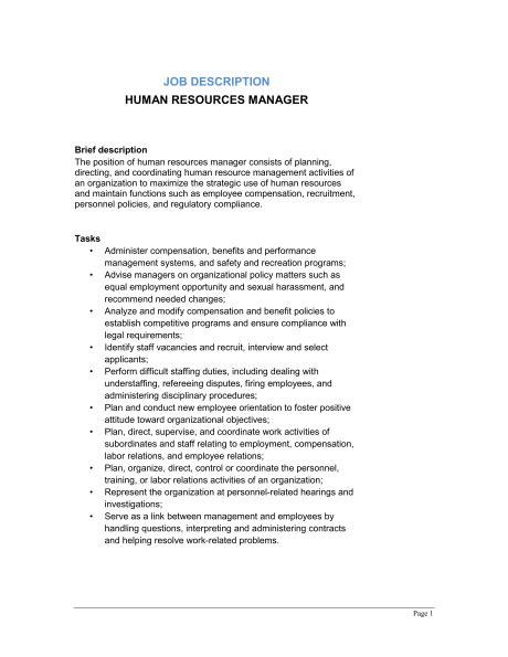 description human resource manager