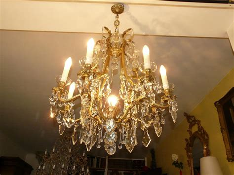 lustre ancien en cristal et bronze dor 233 lustres a pilles de cristal antique connection fr