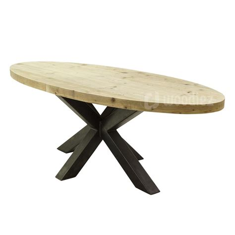 eettafel ovaal industri 235 le ovale tafel steigerhout met stalen