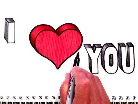 How to Draw I Love You with Heart in 3D - YouTube