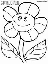 Sunflower Coloring Pages Smiling sketch template