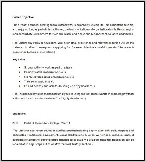 free printable resume template for high school students