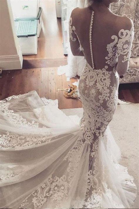 mermaid lace appliques long sleeves tulle