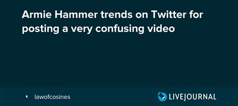 Armie Hammer trends on Twitter for posting a very ...