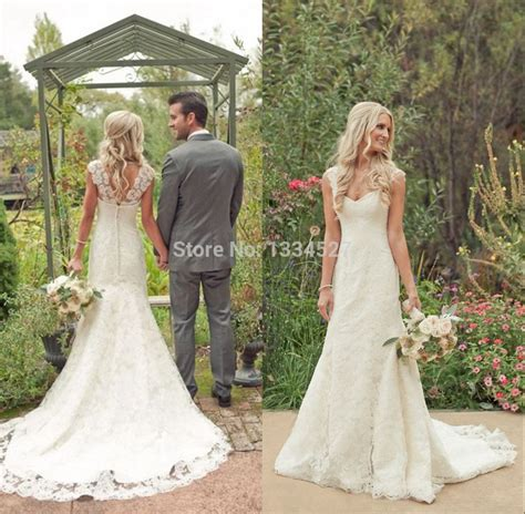 Country Style Vintage Lace Beach Wedding Dresses 2015 Cap