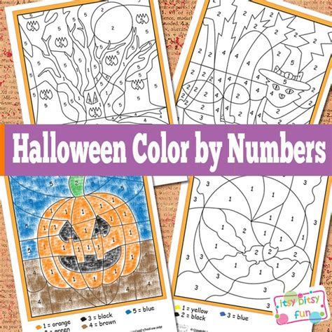 halloween color  numbers worksheets itsy bitsy fun