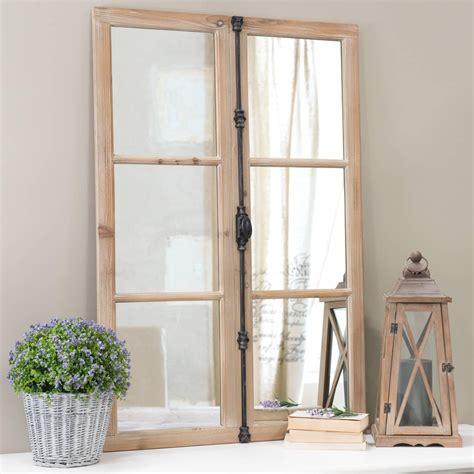miroir fen 234 tre en bois et m 233 tal noir h 120 cm vaucluse maisons du monde