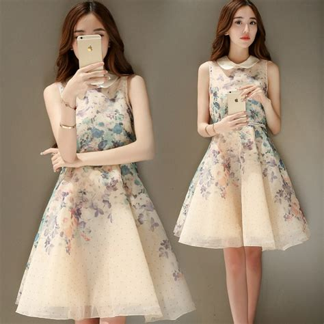Hot Sale Korean Fashion Lovely Floral Print Organza A Line Yellow Dress Elegant Summer Style ...