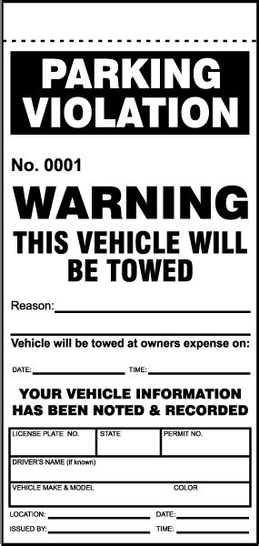 parking ticket template this vehicle will be towed ticket y6010 by safetysign