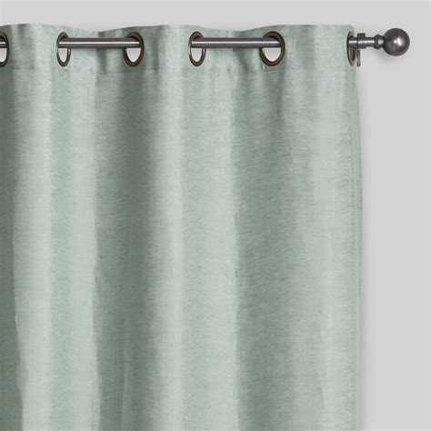 aqua linen grommet top curtains set of 2 world market