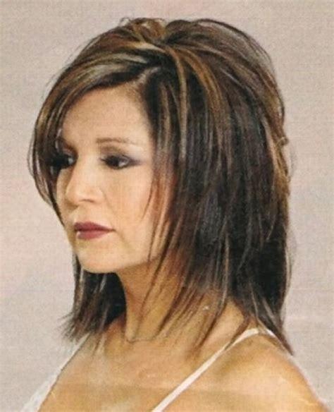 hairstyles double chin  face medium length shag