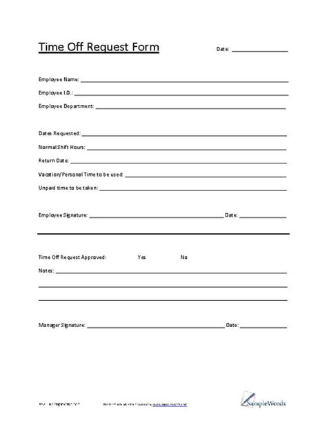 22297 request for time form time request form business management