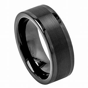 Black tungsten carbide wedding band ring mens jewelry for Tungsten wedding rings for men
