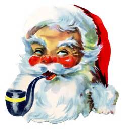 retro graphic gorgeous rosy cheeked santa with pipe the graphics