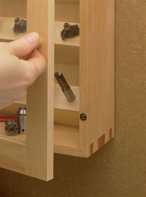 dovetailed router bit cabinet woodworking project
