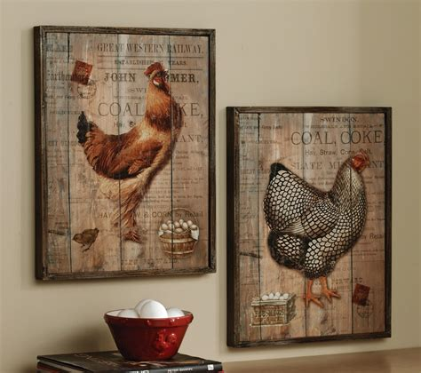 Country French Kitchens Decorating Idea - wall portray with rustic decor accent on reclaimed wood feats egg basket in entryway decorating