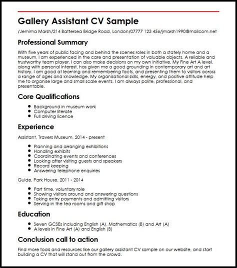How To Write A Detailed Cv by Gallery Assistant Cv Sle Myperfectcv