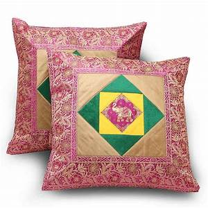 Buy, Ethnic, Floral, Design, 2, Pc, Fancy, Cushion, Covers, Set, Online