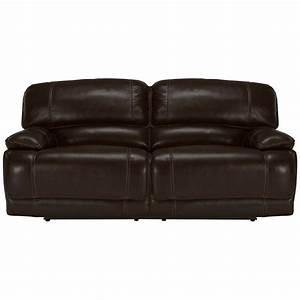 benson dk brown lthr/vinyl power reclining sofa