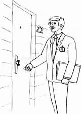 Door Coloring Knocking Knock Illustrazione Che Porta Uomo Portello Batte Illustratie Klopt Deur Bij Mens Della Graduation Ecg Asas Assado sketch template