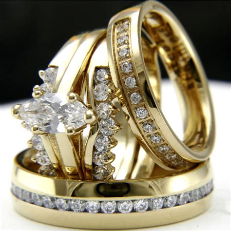 gold tone 0 9ct cz solitaire engagement woman s wedding man s bridal ring ebay