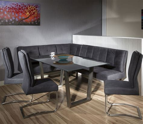 Luxury 8 Seater Grey Suede Corner Lbench Chair Glass Top