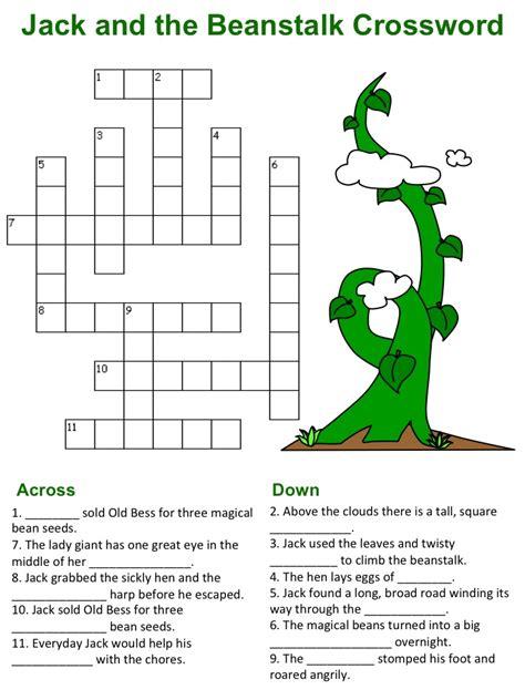 jack   beanstalk crossword puzzles