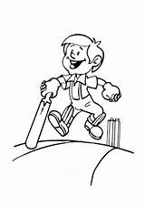 Coloring Cricket Playing Colouring Indiaparenting Unicorn Mermaid Came sketch template