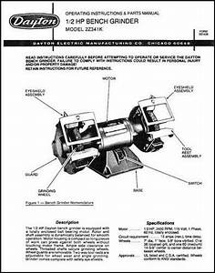 Dayton Bench Grinder Parts And Operating Manual