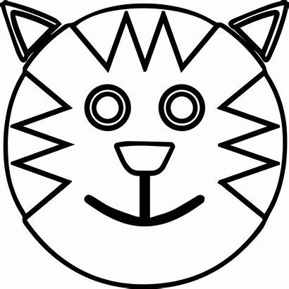 Coloring Face Smiley Smiling Printable Pages Cat