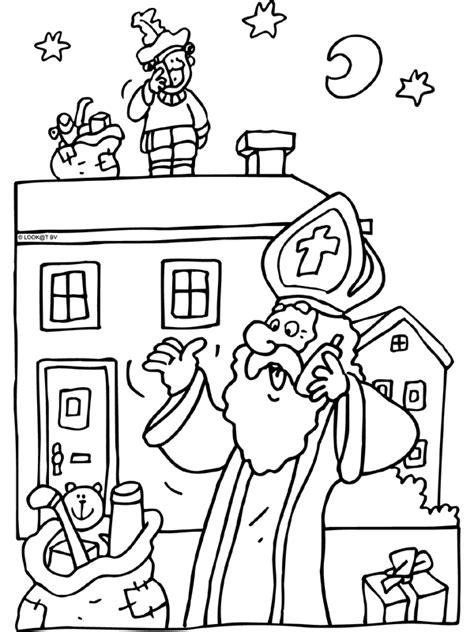 Kleurplaat Zwarte Piet Op Het Dak by Sinterklaas Belt Piet Op Het Dak Sint Nicolaasteam